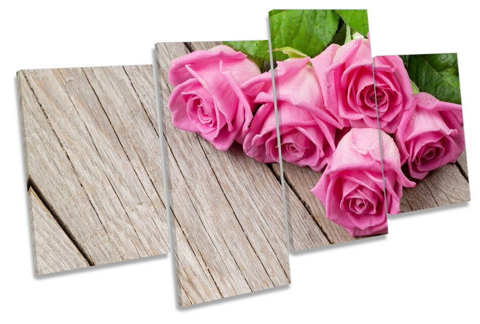 Rosa Rosa Flower Floorboard CANVAS WALL WALL WALL ART MULTI  Box Framed a6c385