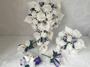 Wedding Flowers Ivory Purple Rose Calla Lily Bouquet Bride