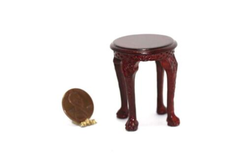 Dollhouse Miniature Chippendale Mahogany Round Side Table