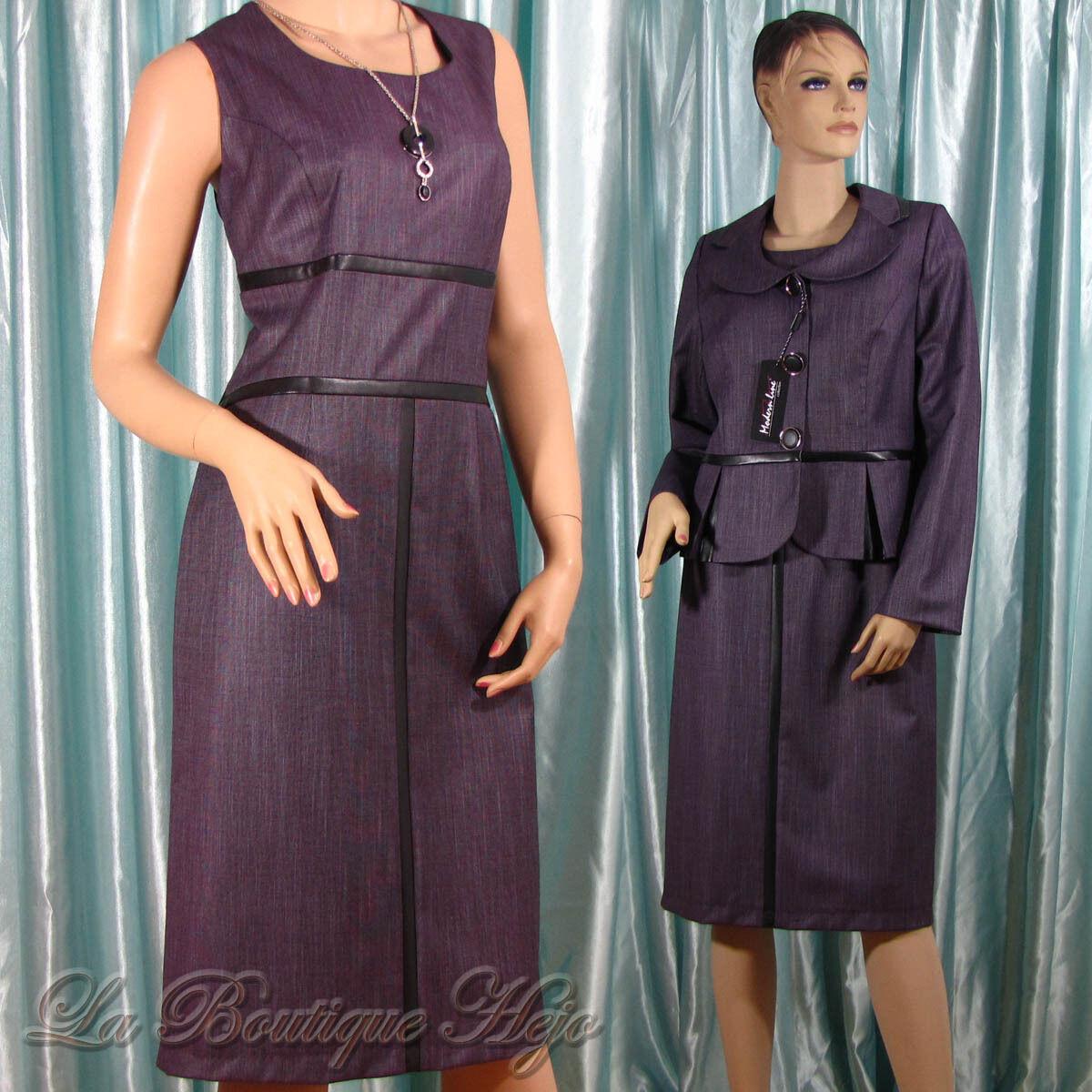 2 Pezzi Costume, ASTUCCIO abito con giacca in Viola di Modern LINE COLLECTION TG. 42