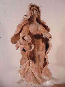 Ceramique-Vintage-50-Rare-Sculpture-de-Femme-Expressionniste-Terre-Cuite