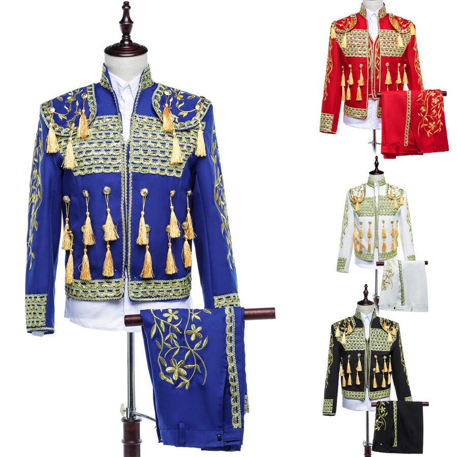 Hot Men Sequins Noble Embroidery Military Court Coats Matador Costume Tops Retro