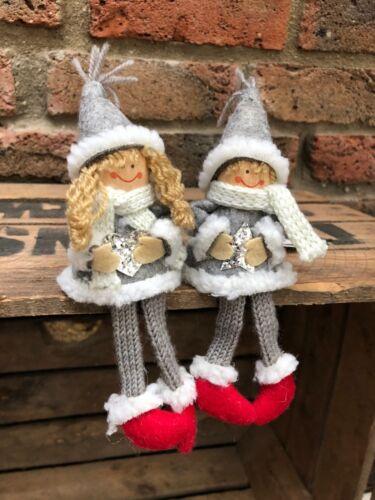 2 Kantenhocker schöne Weihnachts Deko Amalia+Axel ca.18-20cm