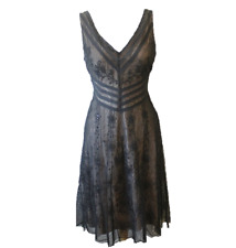 BCBG Max Azria Black Lace Dress Embroider Flower sequence size 6P