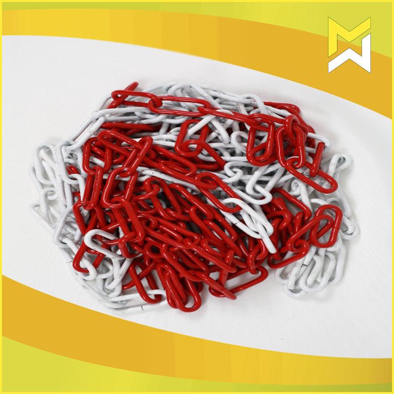 Metall Absperrkette rot-weiß 6 mm, 30m rot-weiss Rundstahlkette Metall Warnkette