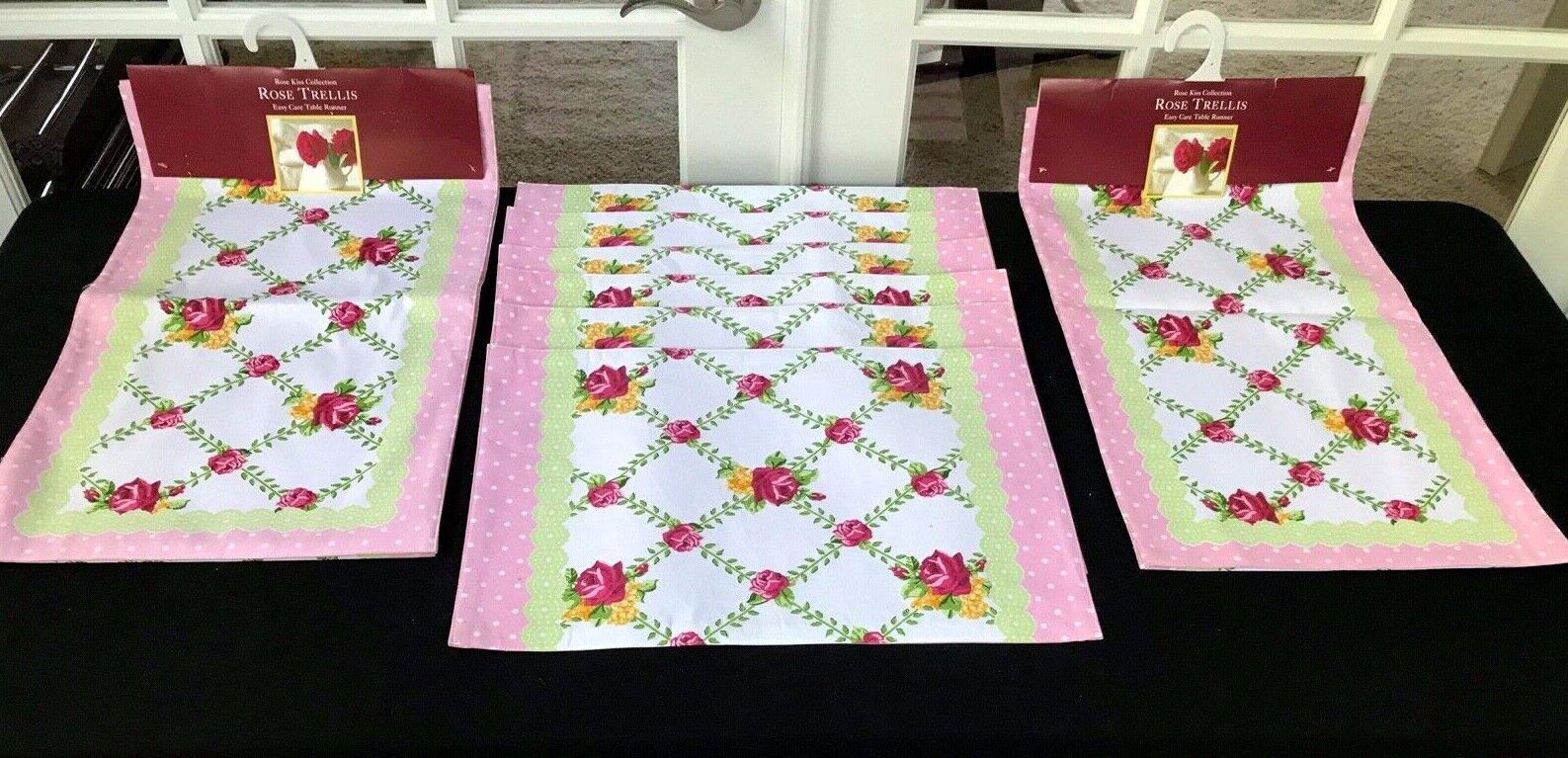 Home Wear Rose Trellis Lot 8  2 Chemins de table et 6 sets de table Lot