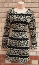 CAMEO ROSE GOLD LACE STRIPE BLACK LONG SLEEVE TUBE BODYCON PENCIL DRESS 10 S