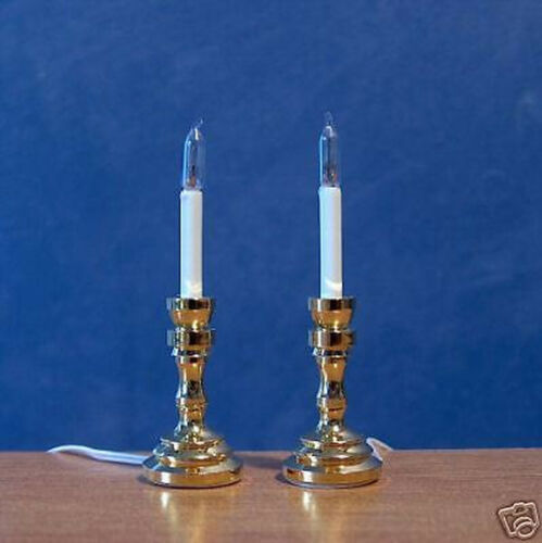 1//12 Dolls House light Working 2 Candle Sticks Lamps miniature candlesticks LGW
