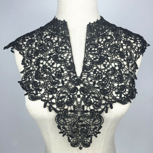 Vintage Lace Floral Collar DIY Dress Neckline Sewing Trim Craft Applique BLK