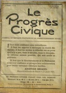 Le Progrès Civique N°76 1921 - Journal De Critique Politique - Henri Dumay Rare Fixation Des Prix En Fonction De La Qualité Des Produits