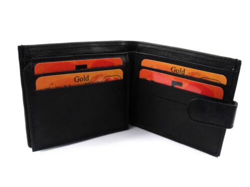 Linea Uomo Lusso Morbido Nero Vera Pelle Wallet foto ID titolare carta di credito portamonete