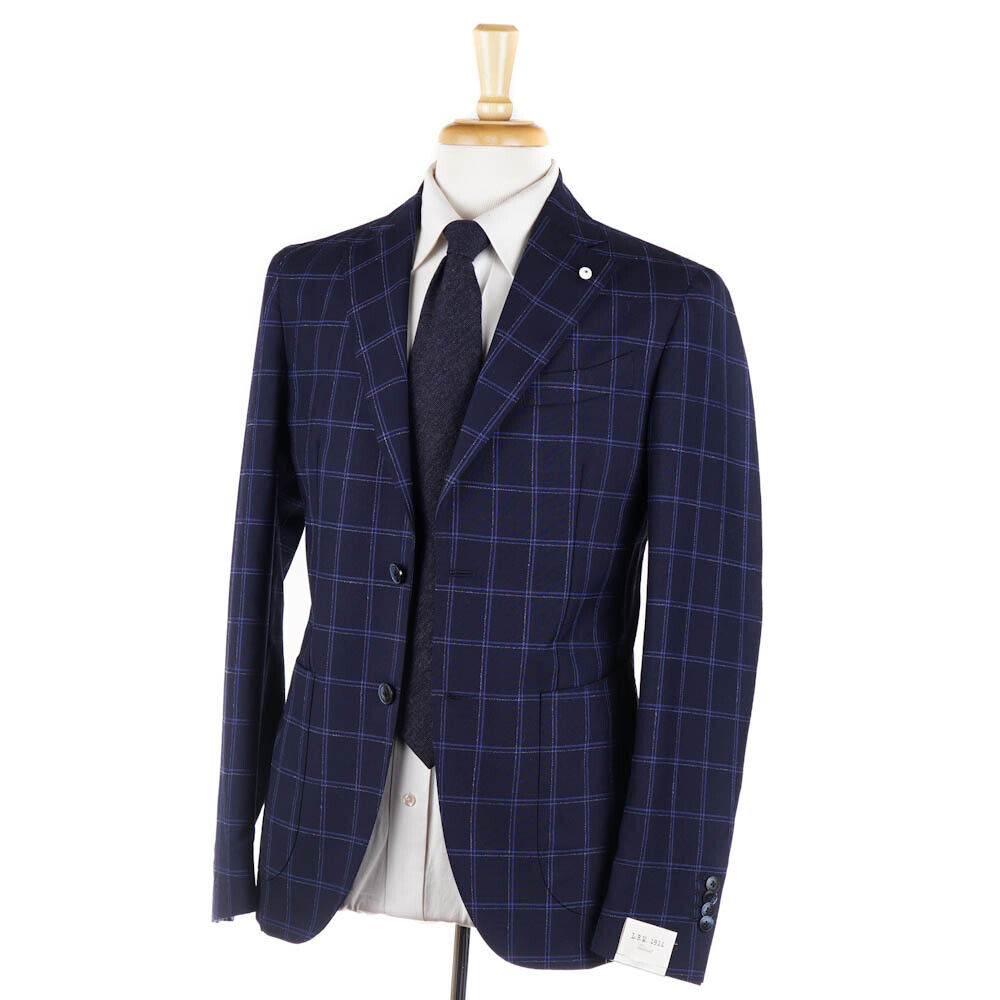 New  1375 L.B.M. 1911 Soft-Constructed Blau Check Lightweight wolleSuit 38 R
