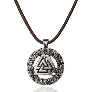 Cool-Necklace-Gals-Viking-Symbol-Pendant-Thor-039-s-Hammer-Circle-Necklace-Jewelr-PF