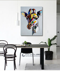 Image Is Loading Giraffe Stretched Canvas Print Framed Wall Art Kids