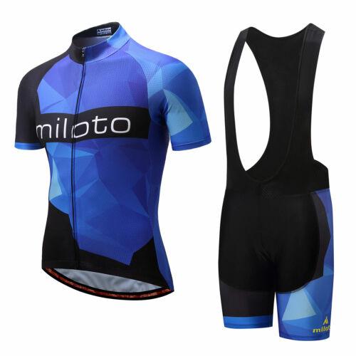 Trägerhose Set Miloto Herren Radsport Bekleidung Blau Fahrradtrikot und Shorts