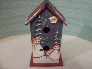 Wooden Birdhouse With Hand-Painted Snowmen Blue White & Red