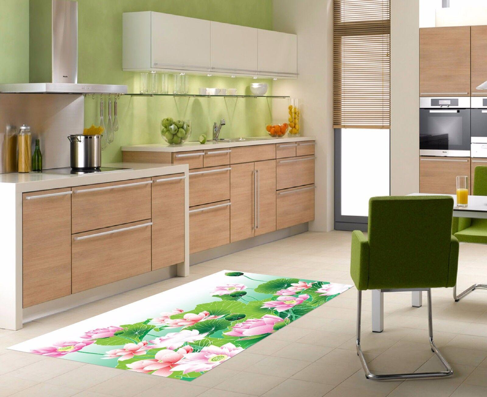 3D Lotus Flowers Kitchen Mat Floor Murals Wall Print Wall Deco AJ WALLPAPER AU