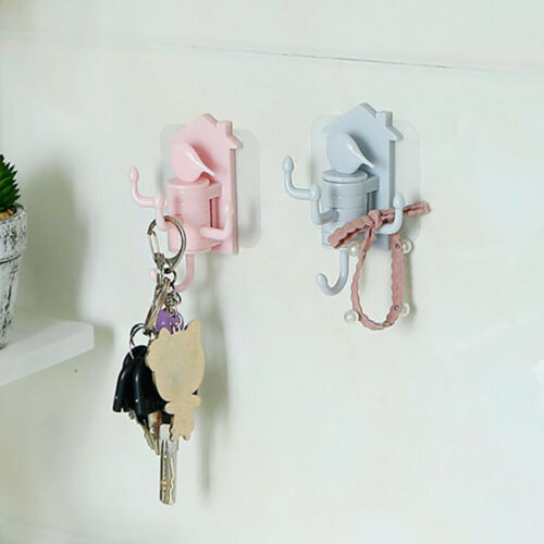 Home Rotating Heavy Duty Self Adhesive Hooks Multi Color Strong Sticky Hook Rack