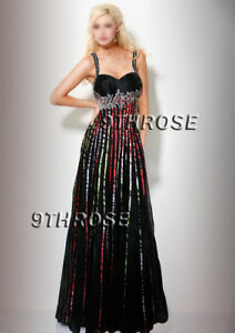 STEP-OUT-IN-STYLE-BLACK-BEADED-FORMAL-EVENING-PROM-DRESS-COLOR-STRIPE-AU14US12