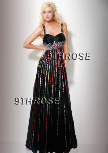 STEP OUT IN STYLE BLACK BEADED FORMAL//EVENING//PROM DRESS; COLOR STRIPE AU18US16