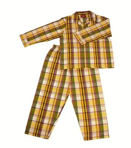 PYJAMA-SUIT-OLIVE-Gr-YELL-CHECKS-SILVER-LINING-5-10-yrs