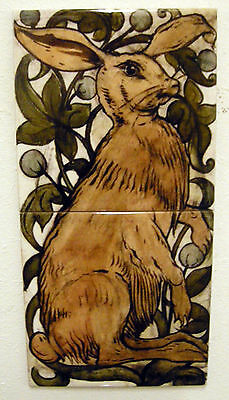 William De Morgan 2 Tile Hare Panel / Bathroom / Kitchen / Splashback / Plaque