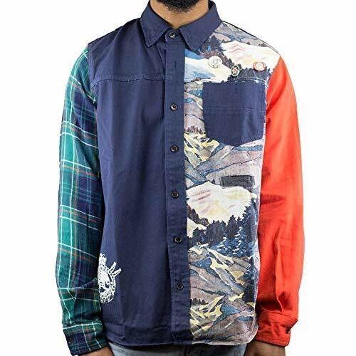 AKOO Men's Squaw Long Sleeve Woven Navy Button Down Shirt Blazer 2XL NWT