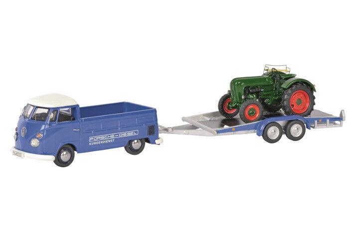 SCH3740 - VOLKSWAGEN T1  PORSCHE-DIESEL  Avec Plateau et tracteur ALLGAIER Ech 1