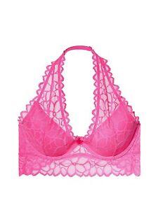 163013f5466 Victoria s Secret Pink Floral Lace Halter Bralette Bra Neon Princess ...