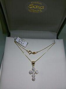 Ciondolo croce in oro giallo 750 18 kt e cristalli NUOVA