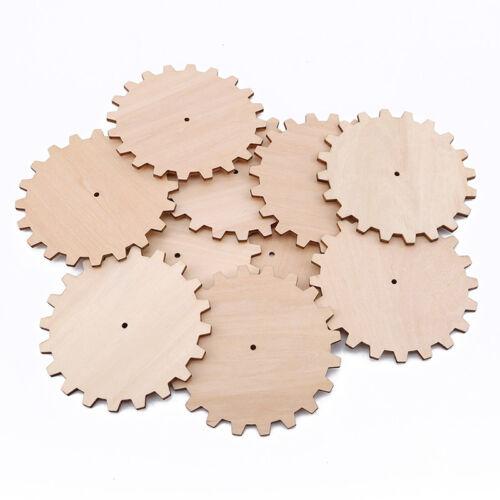 10 pcs Jeu de Plateau Pièces Arts Crafts inachevée Wood Gear Découpe Chips Jian