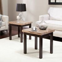 2 Piece Brown Faux Marble Top End Table Living Room Set Home Accent Furniture