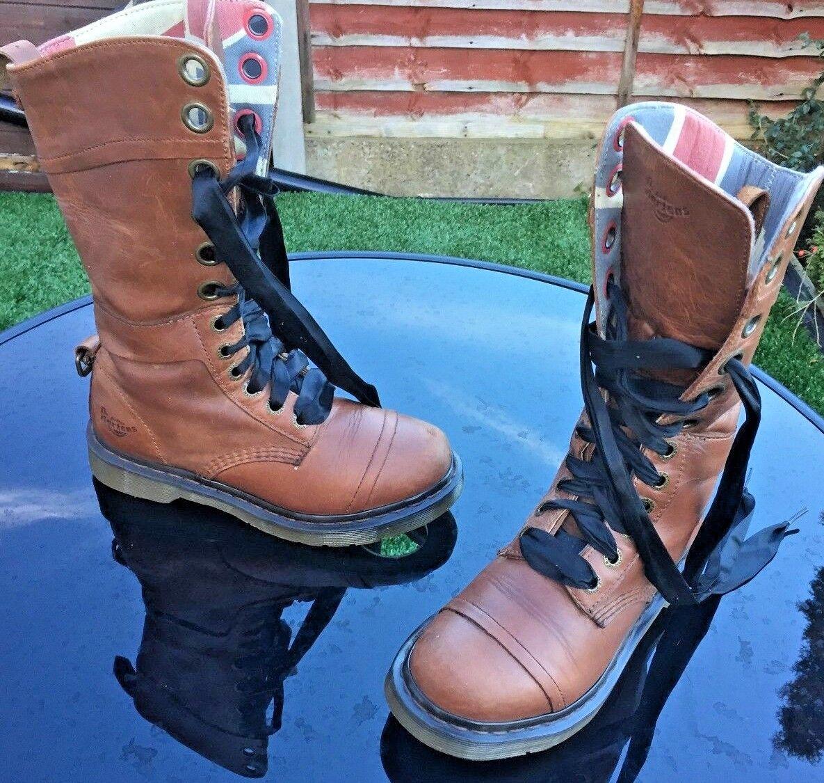 Dr Martens 1914 Triumph tan braun union jack lined leather Stiefel UK 5 EU 38