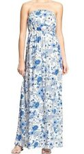 Old Navy Womens Floral Strapless Maxi Dress - small/blue