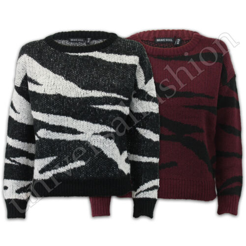 ladies brave soul womens baggy knitted animal print jumper top pullover sweater