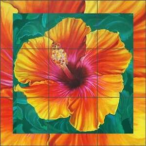 Tile-Mural-Backsplash-Ceramic-Jacey-Hibiscus-Flower-Floral-Art-CPA-NJ17071