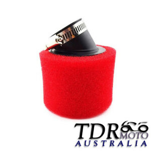 RED-37mm-38mm-Bent-Angled-Foam-Air-Filter-Pod-125cc-PIT-Quad-Dirt-Bike-ATV-Buggy