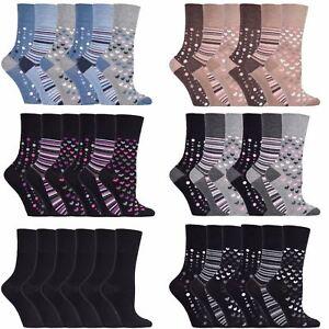 3-Femmes-Gentle-Grip-Bambou-Melange-Non-Elastique-Chaussettes-UK-4-8