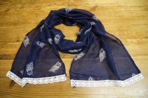 Handmade girls children/'s kids light weight scarf navy with owls
