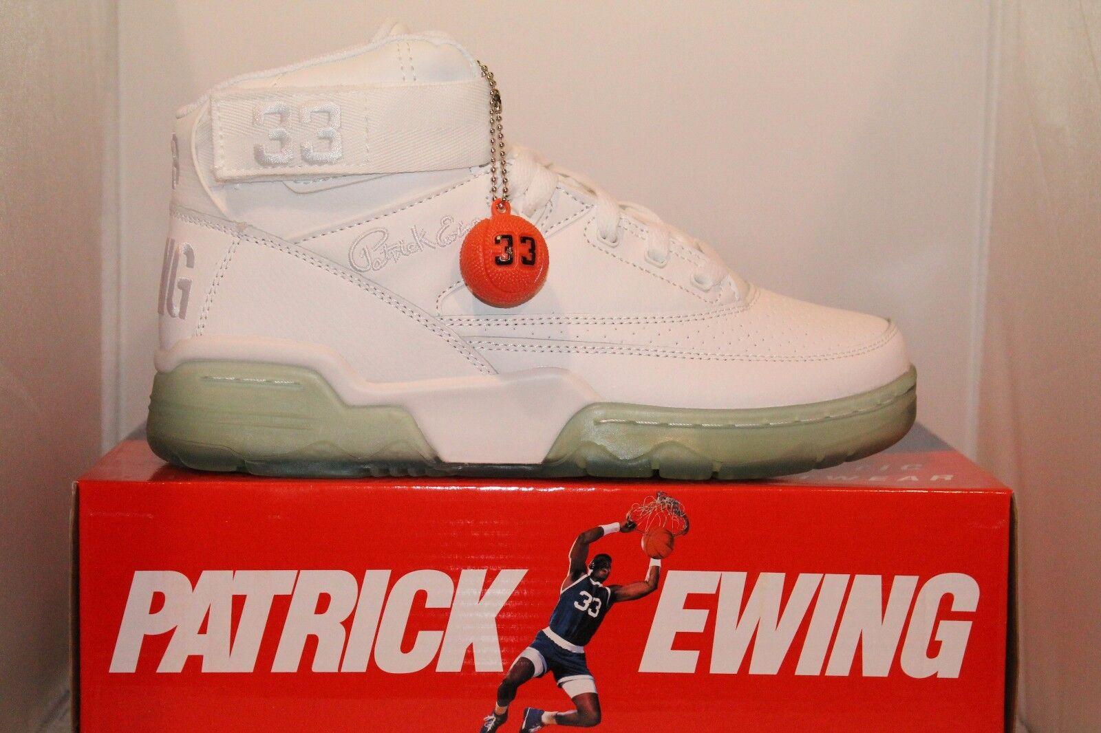 Uomo Patrick Ewing 33 MID Retro WHITE CLEAR ICE GUM Classic Retro MID Basketball Shoes 33cb10
