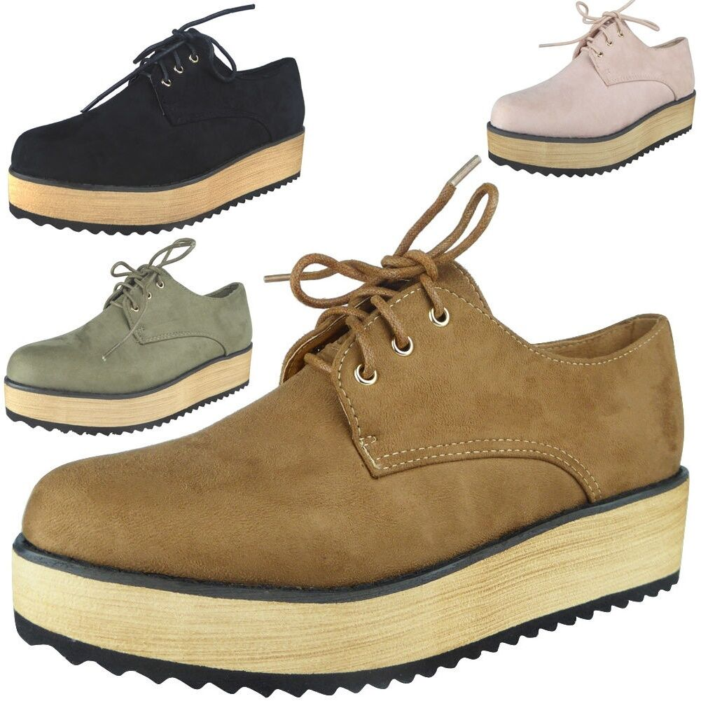 New Womens Flatform Lace Up Trainers Ladies Sneakers Platform Chunky Shoes Size