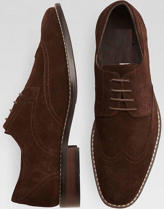 Handmade Men brown Suede wing tip brogue formal shoes, Men brown dress shoes