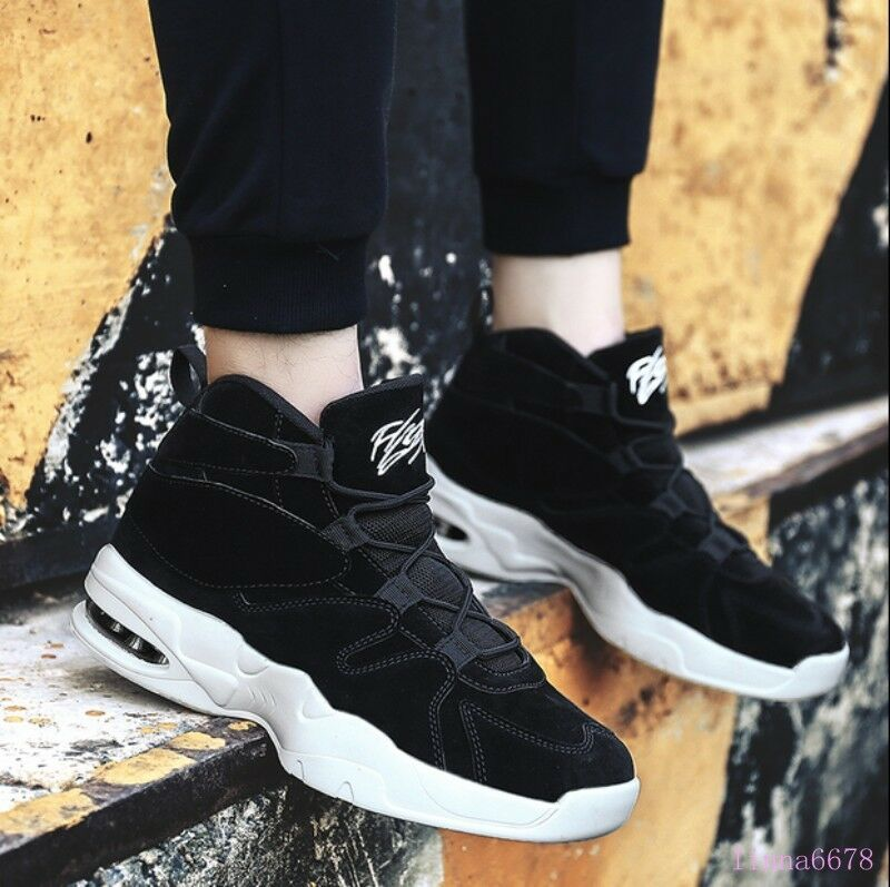 Men's High Top Trainers Sneakers Lace Up Round Toe PU Leather Breathable shoes