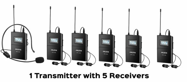 ANLEON Wireless Microphone System Acoustic Transmission 1 Transmitter 5 Receiver