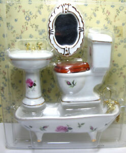 1 12 Dollhouse Miniature Porcelain Bathroom Furniture Set Toilet Basin Bathtub
