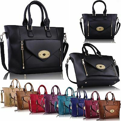 OVERSIZED Womens Designer Shoulder Bag Faux Leather Tote Shopper College Handbag