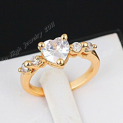 2014 New Full Cubic Zirconia Real Gold GP Engagement Wedding Women Heart Ring