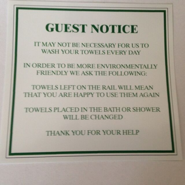 TOWEL CONSERVATION NOTICE  Bathroom Sign Sticker  10 x 7.6cm Hotel Guest House