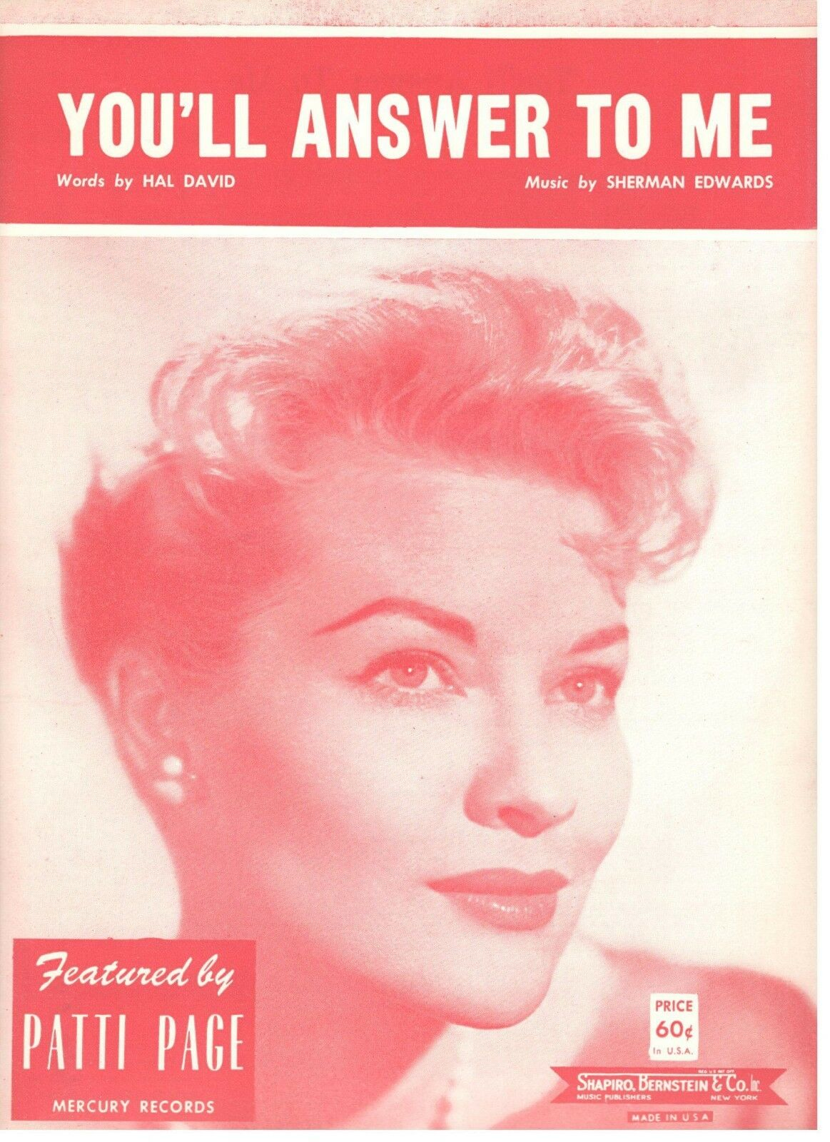 PATTI PAGE  YOU'LL ANSWER TO ME  SHEET MUSIC-1961-VERY RARE-NEW-MINT CONDITION
