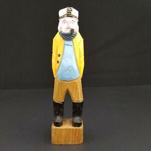 Vtg-Hand-Carved-Wooden-Fisherman-Nautical-Sailor-Folk-Man-Figurine-10-034-Yellow